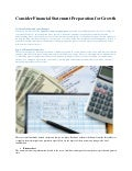 Consider financial statement preparation for growth