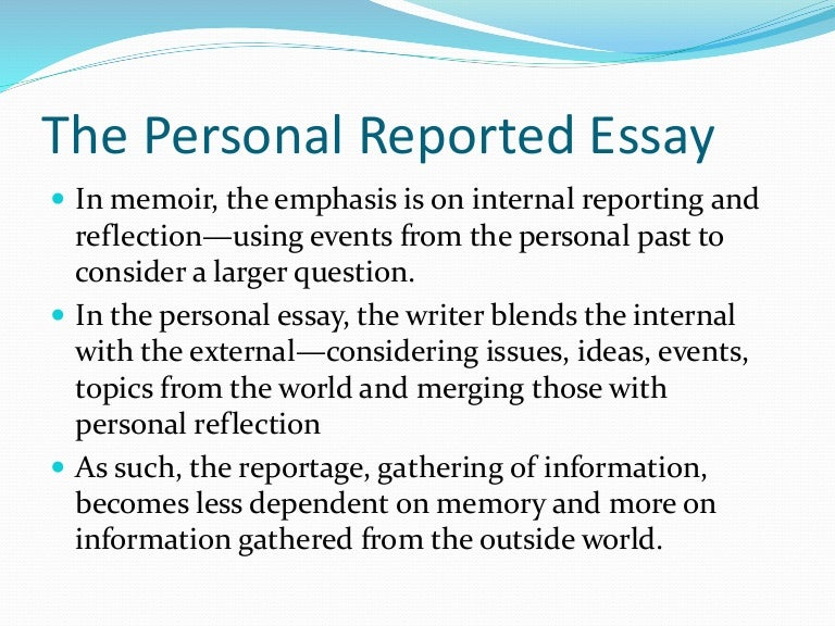 personal reported essay cnf