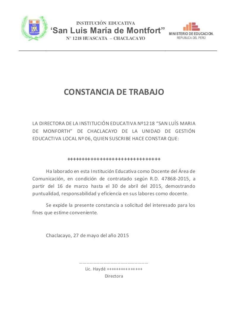 Constancia De Trabajo San Luis Maria De Monforth Mod