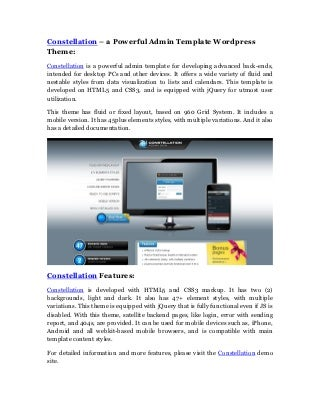 Constellation Powerful Admin WordPress Template