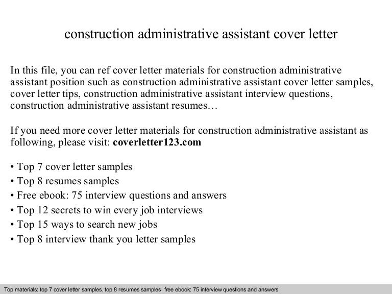 Construction administrative assistant cover letter