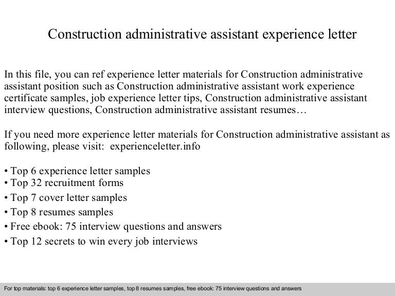 constructionadministrativeassistantexperienceletter 140831114932 phpapp02 thumbnail 4jpgcb1409485800 construction administrative assistant resume