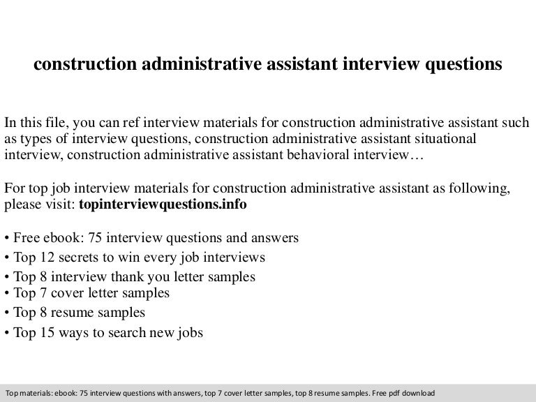 construction administrative assistant interview questions - Construction Administrative Assistant Resume