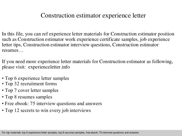 Construction estimator experience letter