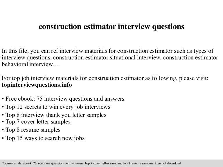 Resumes For Construction Estimator. construction estimator project ...