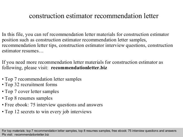 Construction estimate sample letter