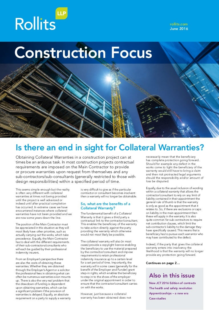 Rollits Construction Focus June 2016