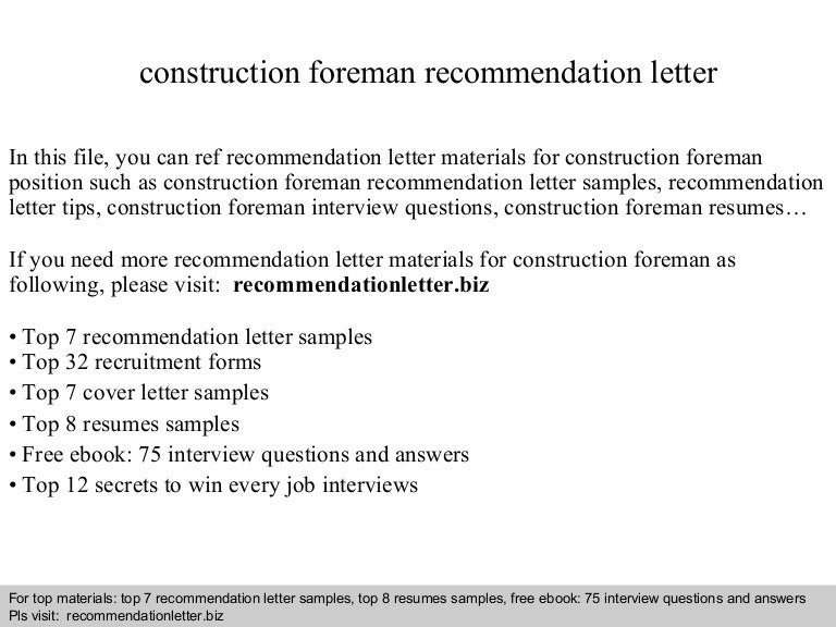 Sample Letter Of Recommendation For General Contractor Construction