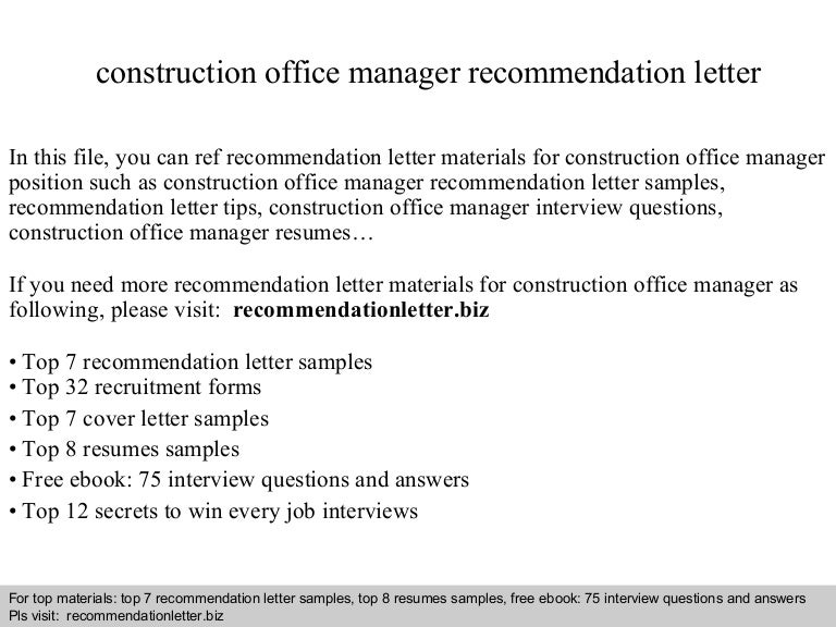 Construction office manager recommendation letter
