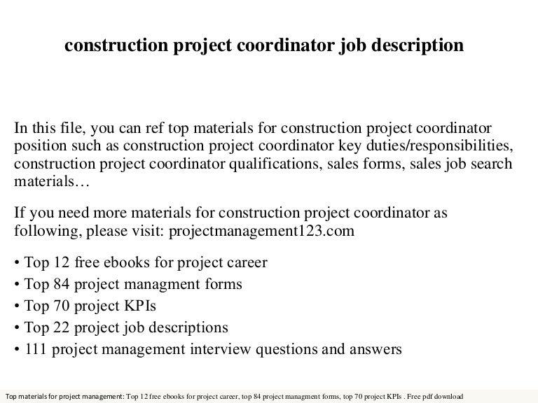 Construction project coordinator – Project Coordinator Job Description