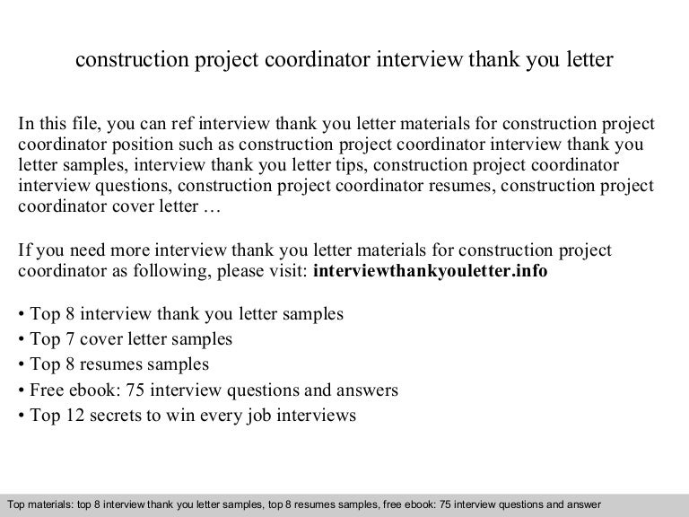 Cover Letter For Construction Project Coordinator