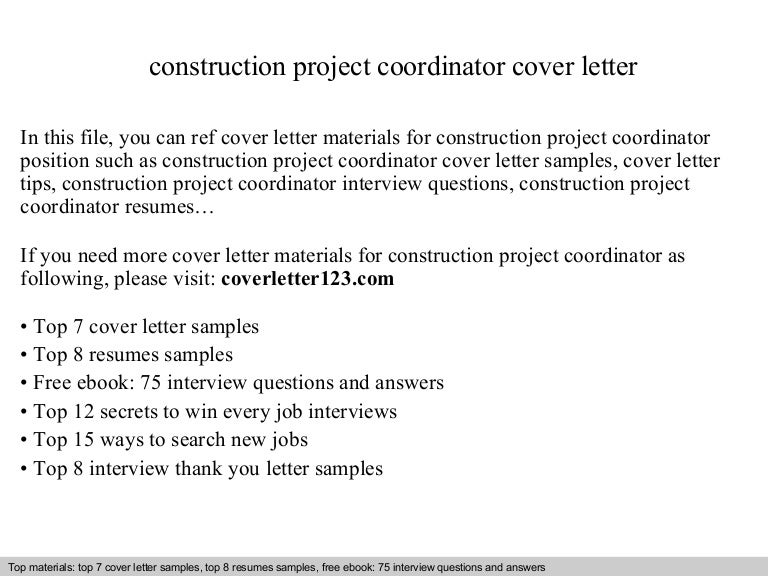 Construction project coordinator cover letter – Project Coordinator Cover Letter