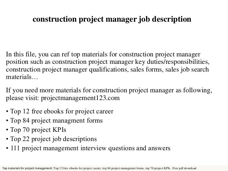 Construction project manager – Construction Management Job Description