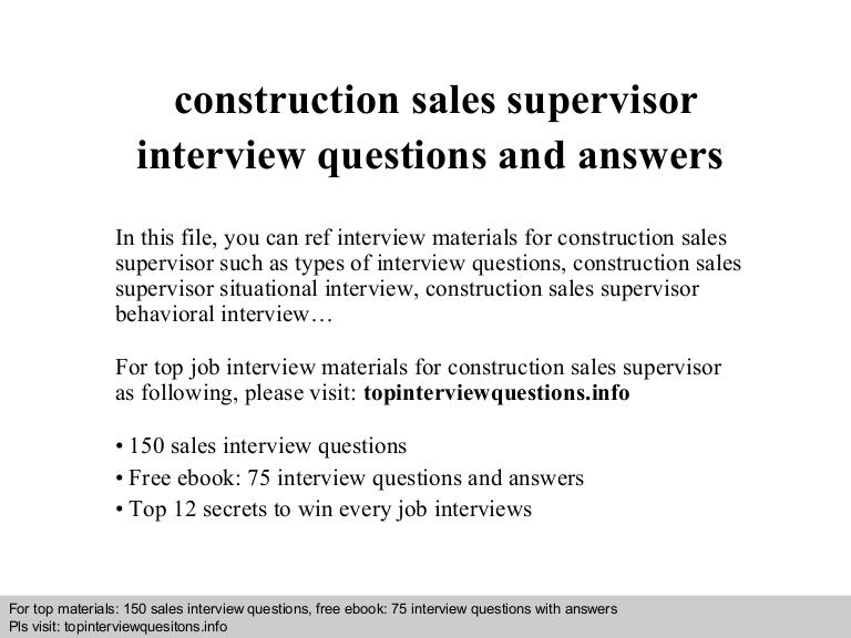 questions for supervisor interview