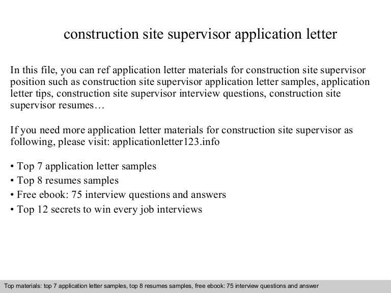 construction site supervisor application letter. Black Bedroom Furniture Sets. Home Design Ideas