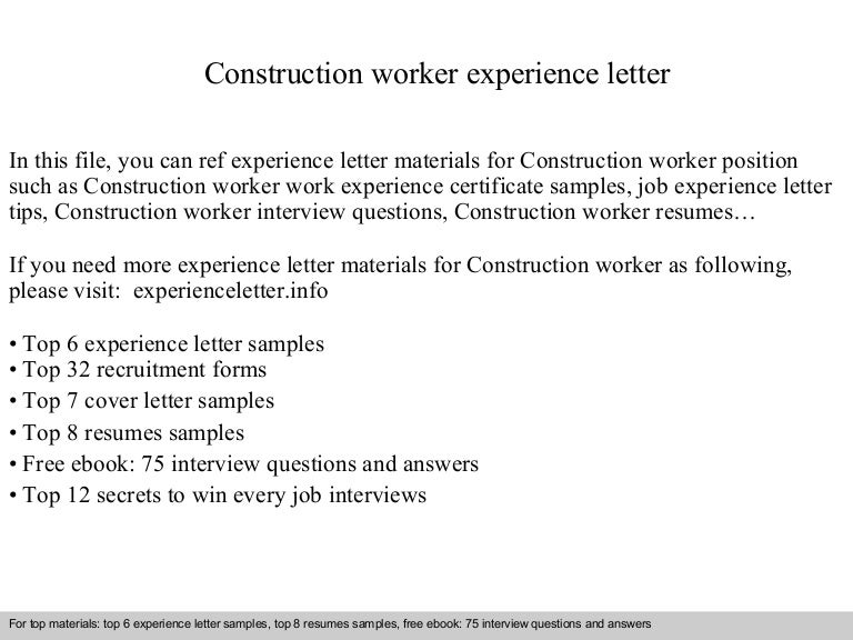 sample resume construction worker