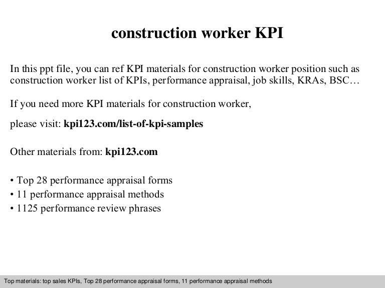 Construction worker kpi – Construction Worker Job Description