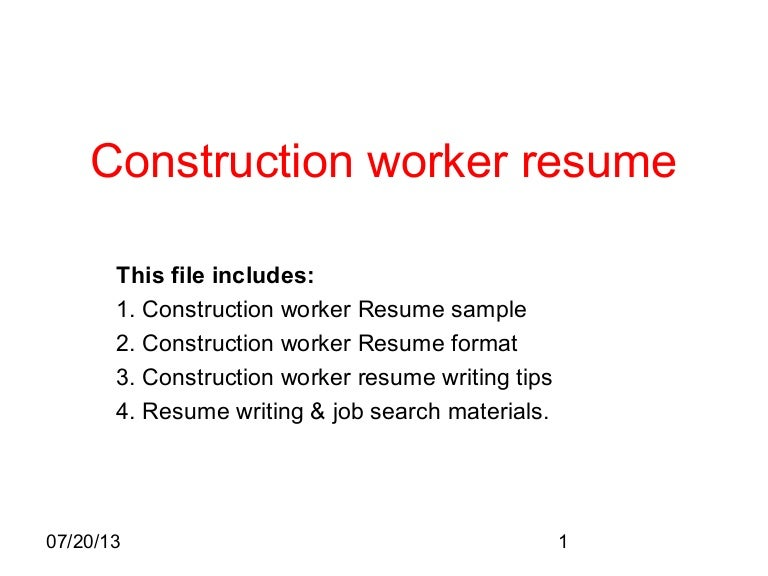 construction work resume