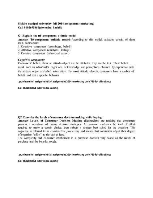 Consumer behavior (sikkim manipal university fall assignment 2014)