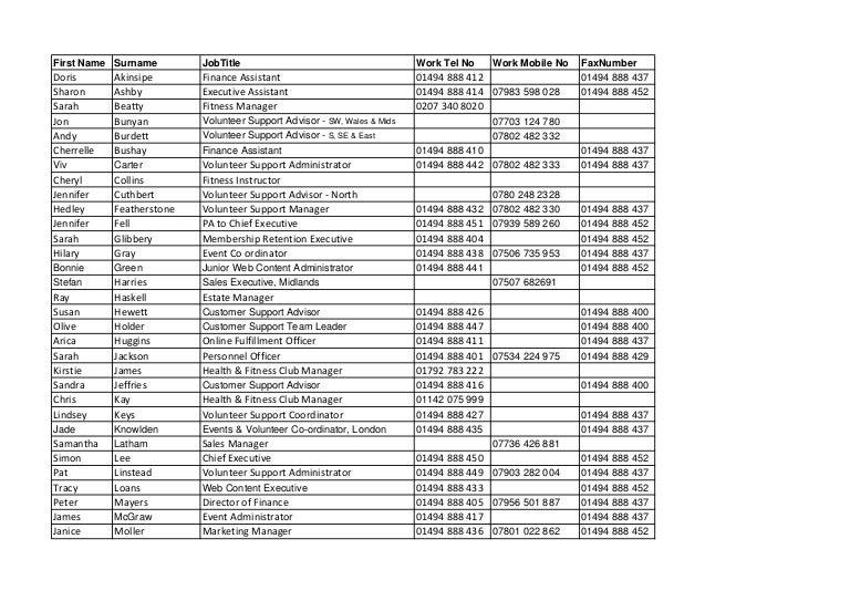 Contact List Nov