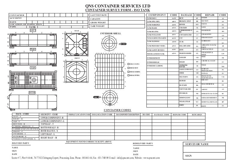 Container Survey Format Iso Tank