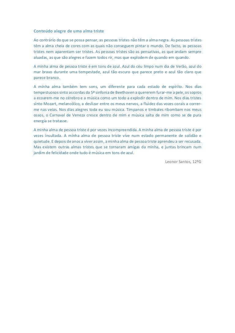 Conteúdo Alegre De Uma Alma Triste Leonor Santos 12 G