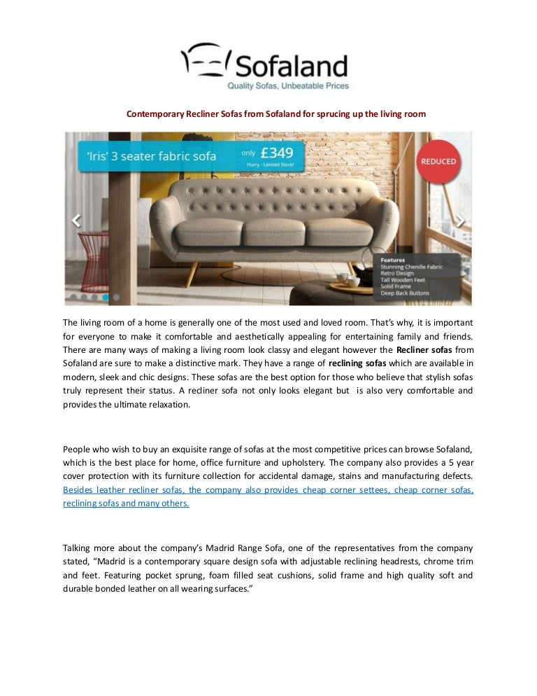 Contemporary recliner sofas from sofaland for sprucing up