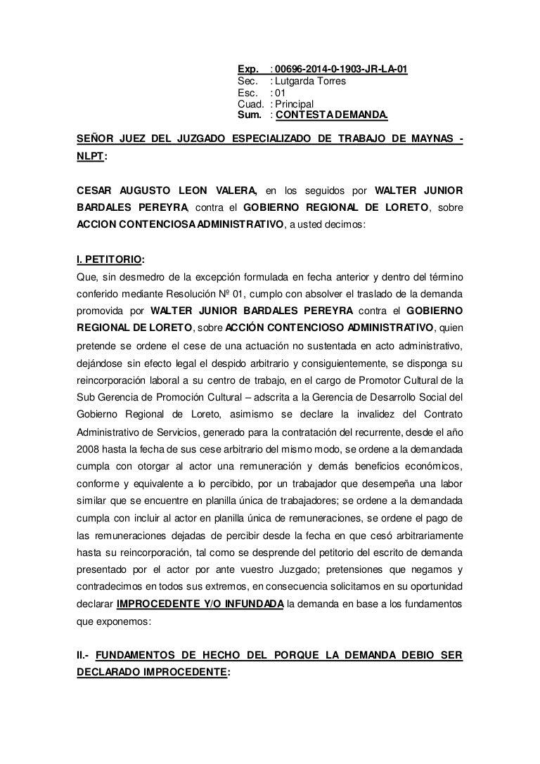 Doccontesta demanda junior bardales reincorporacion cas for Consulta demanda de empleo