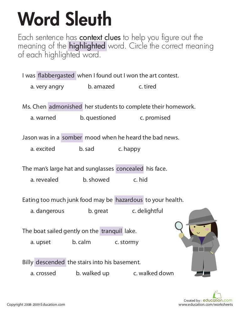 Context Clues Wordsss Worksheet