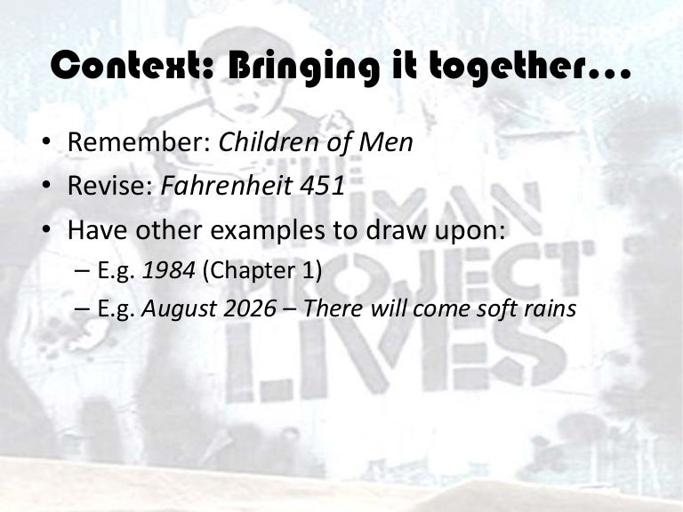 Context Revision Fahrenheit 451 1984 Chapter 1 August 2026