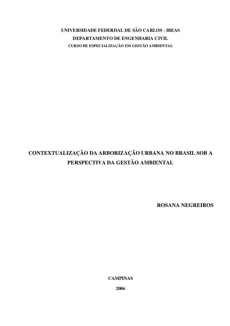 Contextualização da arborização urbana no brasil sob a