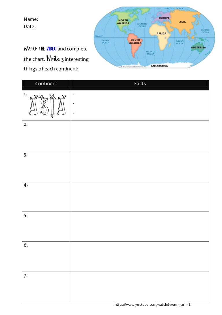Continents video worksheet