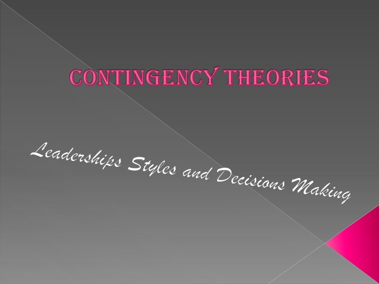 contingency theory essay Contingency theory name: institution: contingency theory introduction (2pges) according to carroll and burton (2012), organization management is the practice under which an organization employs measures to ensure there is an effective and efficient structure that controls its operation.