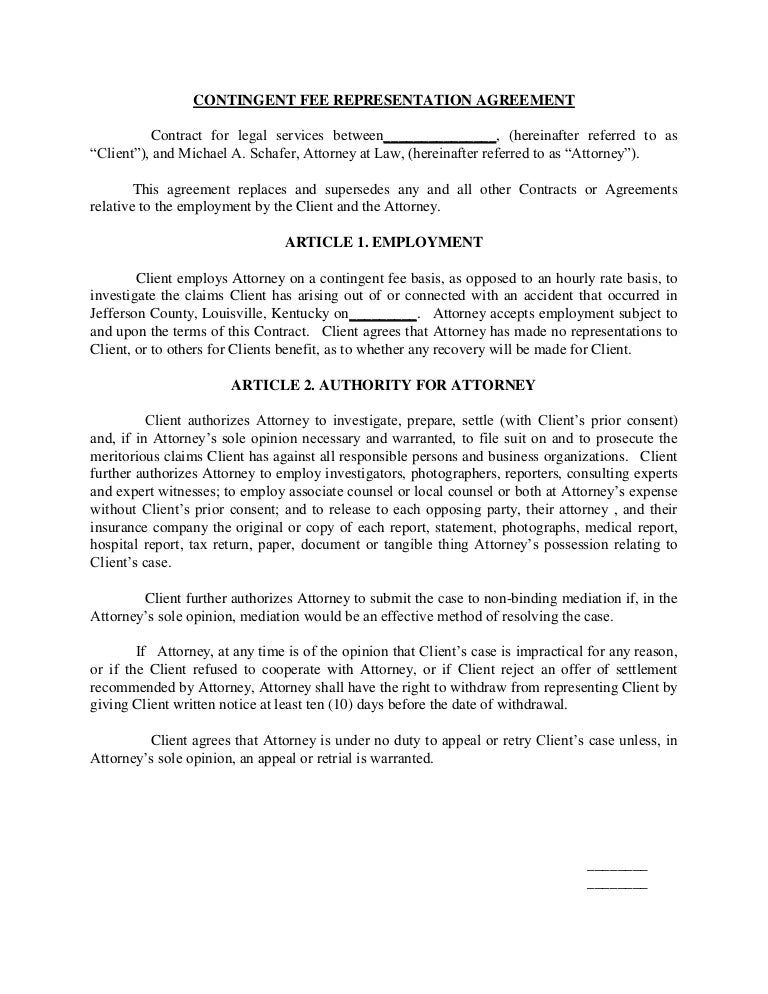 Contingent Fee Representation Agreement Contract For Legal Services B