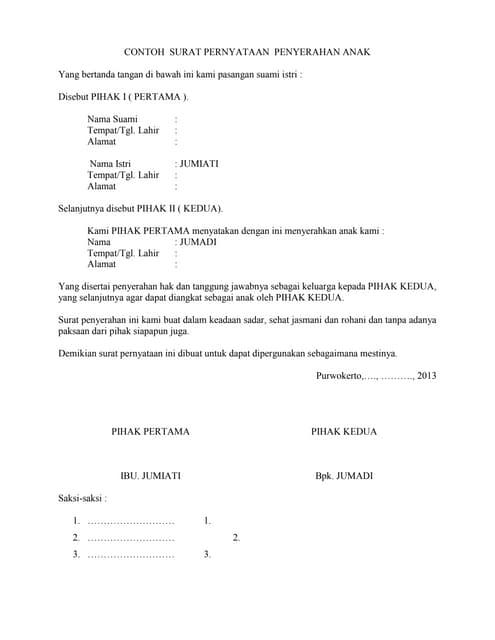 Surat Pernyataan Penyerahan Orang Tua Ke Wali