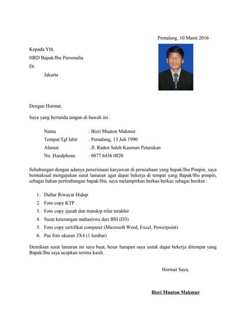 Surat Lamaran Jobfair
