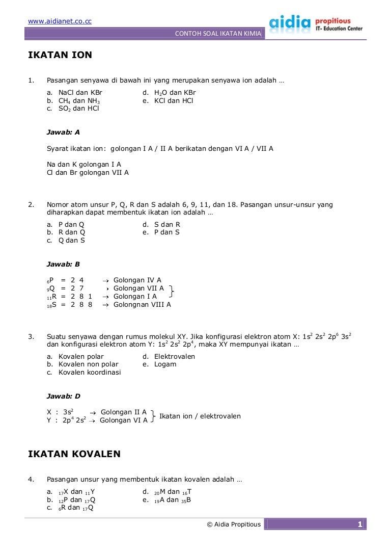 contoh soal essay ikatan kimia beserta penyelesaiannya