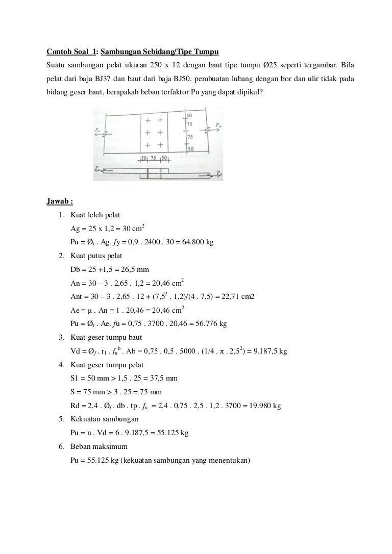 Contoh Soal Struktur Baja 1 Dan Penyelesaiannya Pdf ...