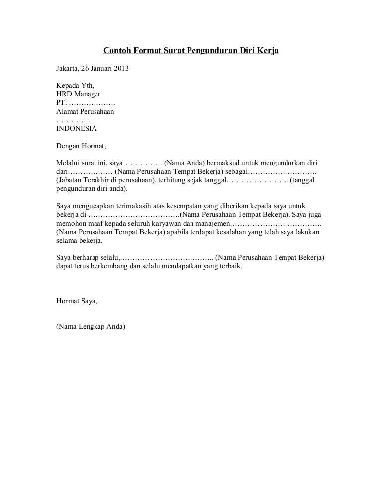 Contoh Surat Pengunduran Diri Kerja 2 69659