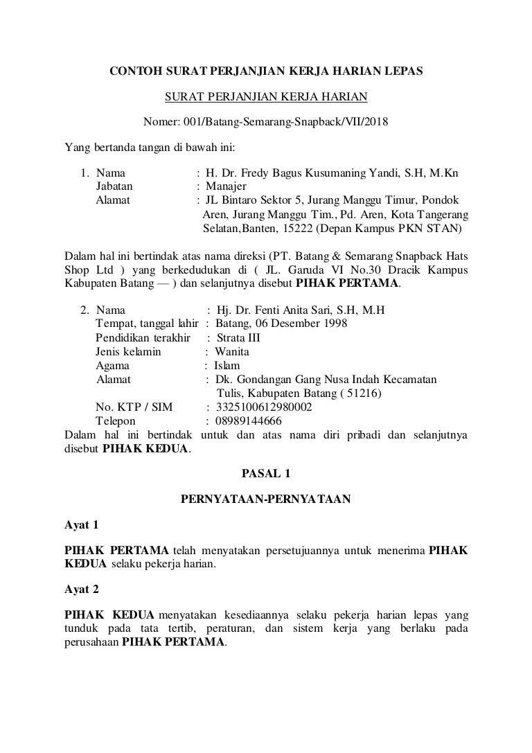 Contoh Risalah Surat Perjanjian Kerja Harian Lepas Fenti