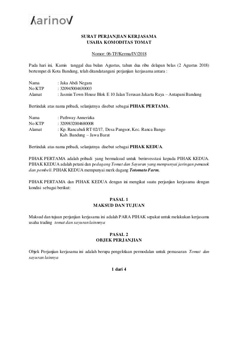 Karinovcoid - Contoh Surat Perjanjian Kerjasama Usaha