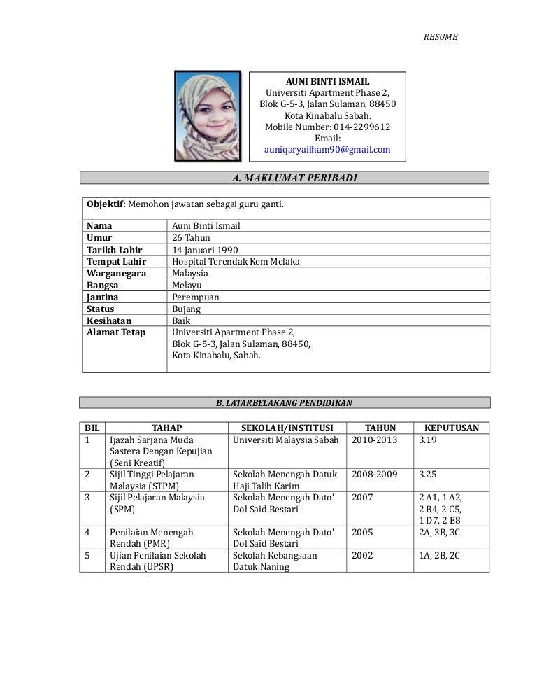 resume guru sementara