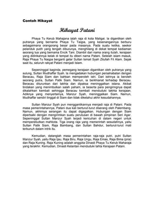 Cerita Sastra Melayu Klasik Hikayat Petani