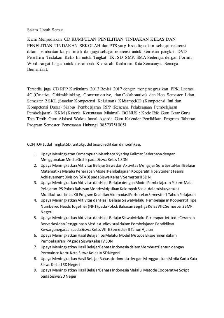 Contoh Judul Ptk Lengkap Bahasa Indonesia Sdn Kelas 1 Sd Kemampuan M