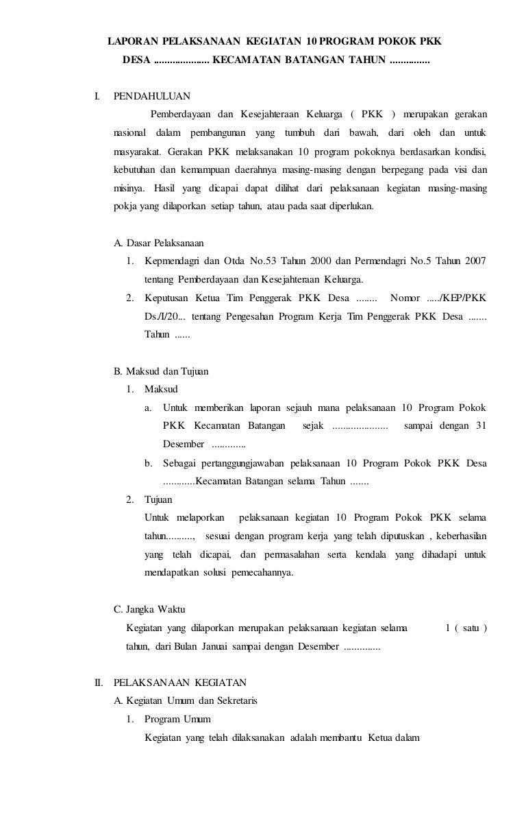 Contoh Laporan Pelaksanaan Kegiatan 10 Program Pokok Pkk