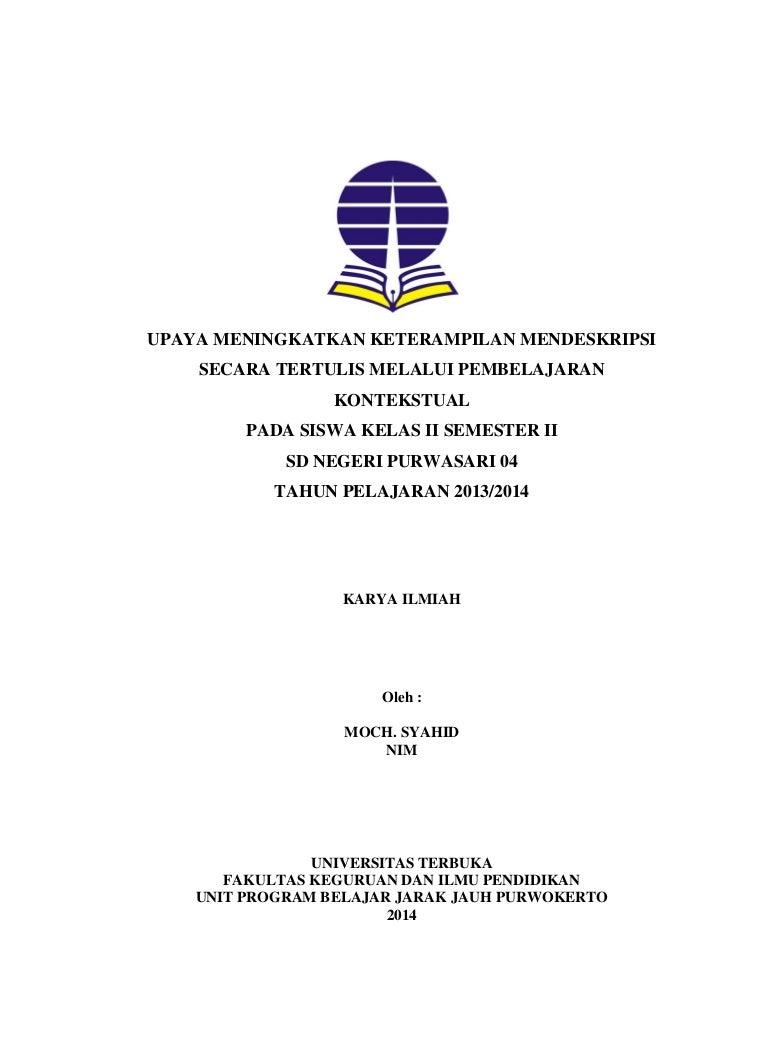 Contoh Laporan Pkp Ut Pgsd Bahasa Indonesia Pembelajaran Kontekstual