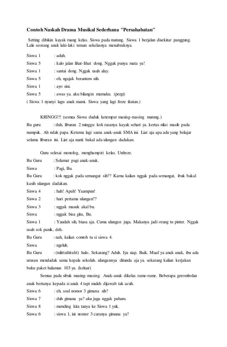 Gambar Contoh Teks Naskah Drama Komedi 6 Orang   Aliansi ...