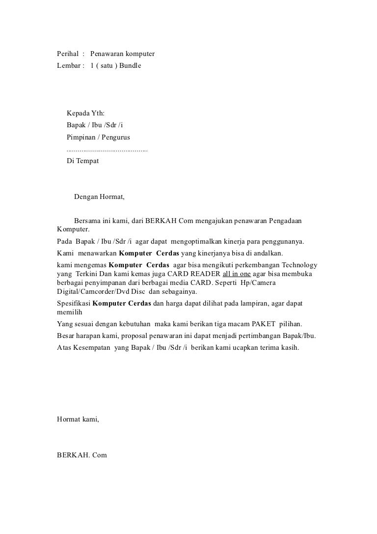 Surat Penawaran Komputer