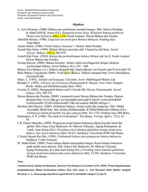Contoh penulisan rujukan (APA)