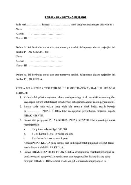 Contoh Perjanjian Hutang Piutang